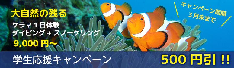 学生応援キャンペーン500円引!!キャンペーン期間3月末まで